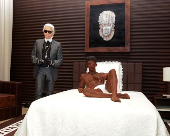 Karl Lagerfeld and his chocolate lapdog