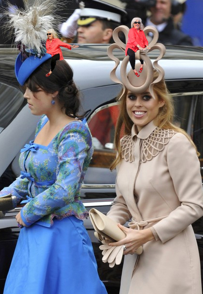 Paula Deen and Princess Beatrice and Princess Eugenie at the royal wedding
